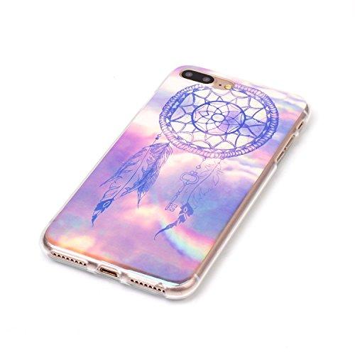 Voguecase® für Apple iPhone 7 Plus 5.5 hülle, Schutzhülle / Case / Cover / Hülle / TPU Gel Skin (Marmor/Schwarz) + Gratis Universal Eingabestift Blaues Licht/Campanula 06