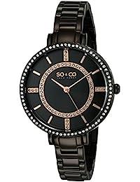 SO & CO New York diseno de rayas de Nueva York para mujer reloj de cuarzo con esfera analogica y correa negra de acero inoxidable de 5066,5