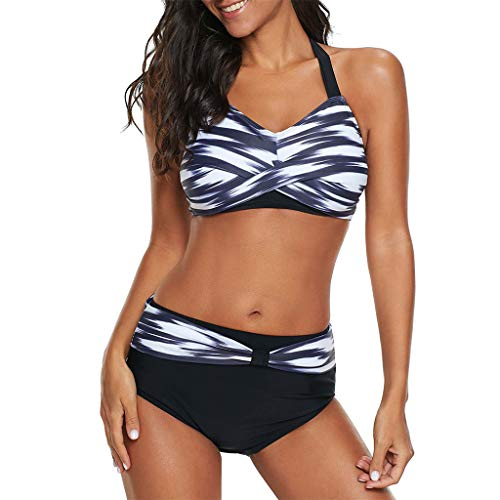Junjie Frauen Tupfen Badeanzug Push-up Strand Badeanzug Bikini Polka Bademode Swimsuit modern Sale sexy elegant Oberteil Damen festlich Sommer Plus Size Blau, Pink, Lila, Grau (Bikini Sexy-versuchung Womens)