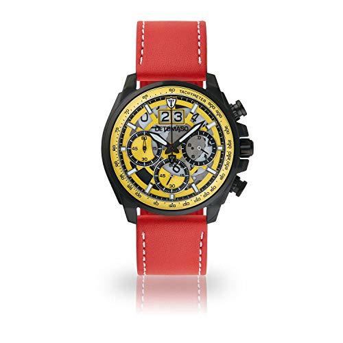 DETOMASO LIVELLO Men's Wristwatch Chronograph Analogue Quartz red Leather Strap Yellow dial DT2060-A-906