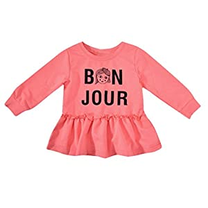 EARS Babybekleidung Ears Newborn Baby Girls Long Sleeves Letter Print Kids Clothing Princess Dresses