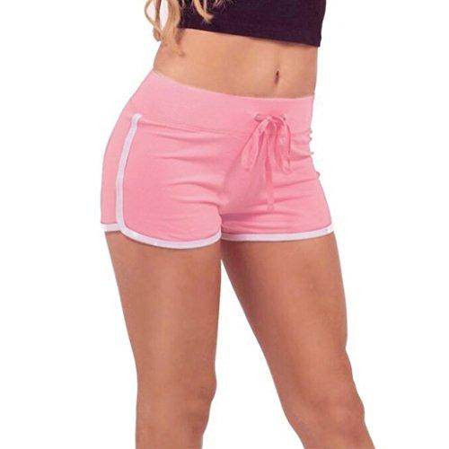 Kangrunmy Sommer Hosen Damen Sport Shorts Gym Workout Bund Dünne Yoga Elastische Shorts (S, Rosa)