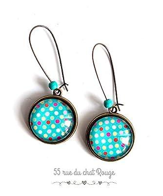 Boucles d'oreilles cabochon, Petit pois multicouleur, fond turquoise, bijou intemporelle, idée cadeau noël
