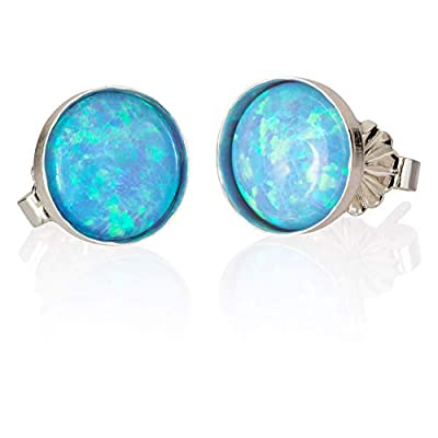 Boucles d'Oreilles en Opale Bleu, Rond 8 mm, Boucle d'Oreille Fait Main Argent Sterling Femme