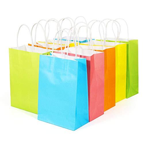 tüten mit Griffen, [20 Stück] Geschenktüte Mitgebsel Partytüten Kraftpapier für Party, Giveaways, Kindergeburtstag, Gast, Hochzeiten, feiern, Süßigkeiten, Geschenke verpacken ()
