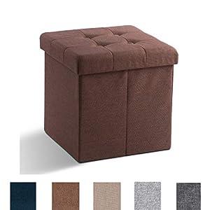 Zedelmaier Sitzhocker mit Stauraum, Fußbank Truhen Aufbewahrungsbox faltbar belastbar bis 300 kg, Leinen, 38 x 38 x 38…