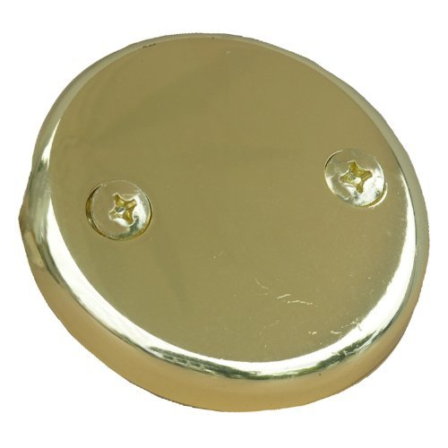 LASCO 03-1431 Two Hole Style Bathtub Waste And Overflow Plate, with Screws, Polished Brass by LASCO
