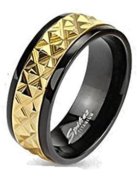 Paula & Fritz® Ring Titan silber gold 6 oder 8mm breit Spike Inlay Gold Accented Band verfügbare Ringgrößen 47...