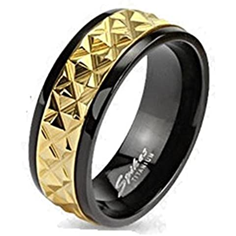 Paula & argento oro Fritz anello di titanio per 6 o 8 mm di larghezza banda Spike intarsi in oro accentati disponibili misure anelli 47 (15) 72 (23) R-TI-3743