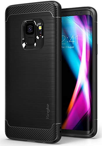 Ringke Onyx Kompatibel mit Galaxy S9 Hülle Bürste Modisch Rüstung Verteidigung Panzer Schutzhülle (Starker Telefonschutz) Anti-Rutsch Flexibel TPU für Galaxy S9 Case Cover - Schwarz Black