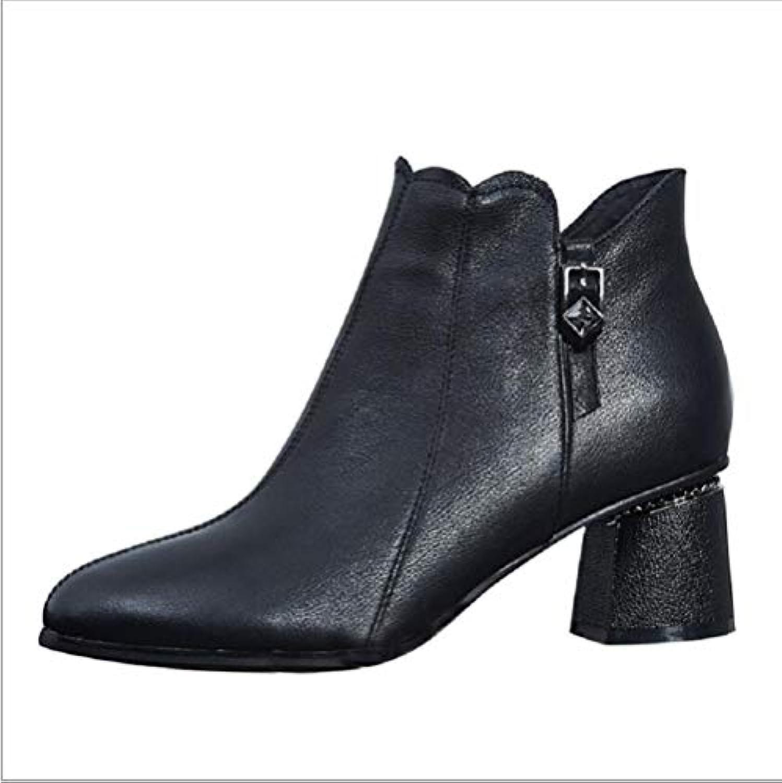 JINGJING Stivali donna a a a punta, stivali di cuoio grosso tacco, stivali di pelle, cashmere per bambini, stivali... | riduzione del prezzo  20a07a