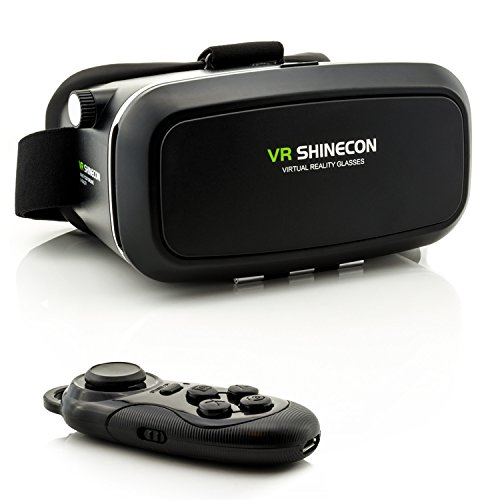 Virtual Reality Brille VR Shinecon Headset für virtuelle Realität + Bluetooth Controller in Schwarz - Universal VR-Box mit Fernbedienung für Handy, 3D Filme, VR-Movies, VR-Games, 360 Grad Spiele | Kompatibel mit Android & iOS - alle 3,5 bis 6 Zoll Smartphones von Samsung Galaxy | Apple iPhone | Huawei | Sony Xperia | HTC | Google Pixel | LG | Microsoft (Knöpfe Stick Gear)