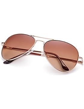 NYKKOLA clásico marco de metal aviador lentes polarizadas Mujer Hombre Gafas de sol 100% protección UV con funda...