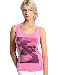 SENSI Camisetas sin Mangas Mujer Estampa Besame Sin Costuras Made in Italy