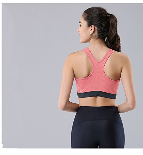 ny Fitness Back Respirant No Trace Soutien-gorge No Steel Ring Rassemblez Shock Sports Running Underwear Rose