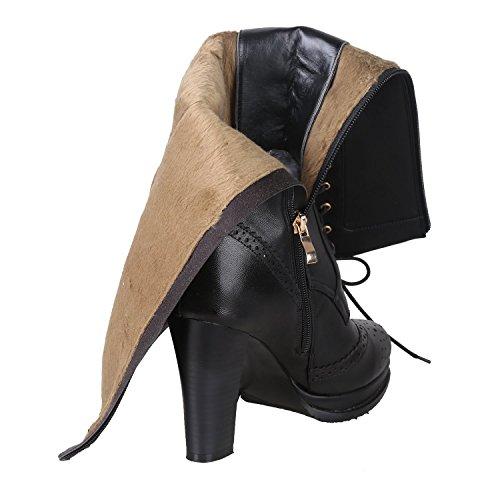 Kattee Femme Bottes à talon haut Bottes Genoux Rétro Peau de mouton + PU cuir à lacet Motard à talon carré Bottes Cuissardes pour robe Noir