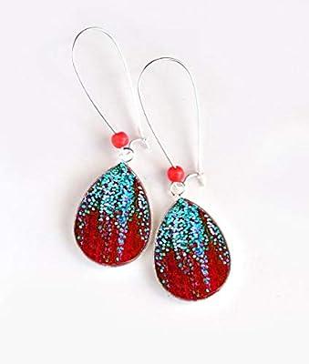 Boucles d'oreilles bijou cabochon gouttes, paillettes, turquoise et rouge