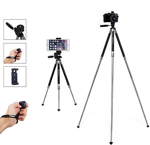 Fotopro Trípode iPhone, 39.5 Pulgadas de Aluminio de Trípode de la Cámara, Trípode de Teléfono y Soporte de la Cámara Portátil Con Control Remoto Bluetooth y Smartphone Clip Mount Apto para el Disparo Exterior, Viaje o Youtobe Video Making, etc (Negro) …