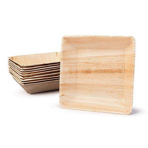 BIOZOYG DTW05469 Coupelle pour snacks / potage, en feuille de palmier, 25 pièces, carrée, 600 ml, 17x17x4 cm, compostable