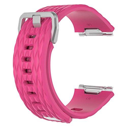 Drachen Streifen Armband Strap ★ Weiches Silikon Sport Ersatzarmband für Fitbit Ionic Smart Watch, Einfarbig Pink