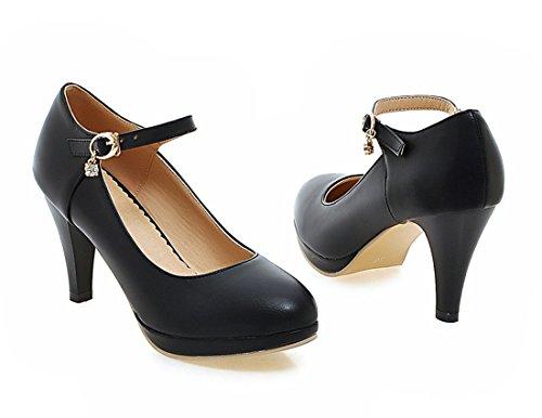 YE Damen Bequeme Knöchelriemen High Heels Plateau Pumps mit Blockabsatz und Schnalle Schuhe Schwarz
