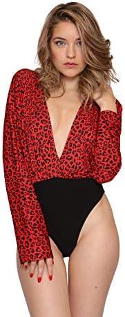 Aarzoo Damen Leoparden-Body mit V-Kragen und Langen Ärmeln