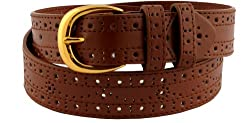 Womens Fashionable Perforated Pattern Belt Tan Small