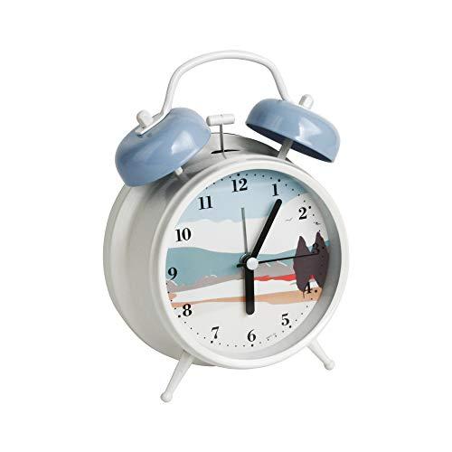 Emartbuy 4 Pulgadas Sin Tic TAC Mesilla de Noche/Mesa Reloj Despertador de Cuarzo con Luz de Fondo, De Pilas Reloj de Viaje, Redondo y Ruidoso Reloj de Alarma de Doble Campana - Paisaje Azul