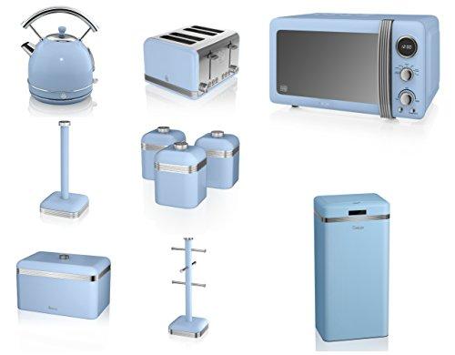 Swan Blue Kitchen Appliance Retro Set Of 10 - Retro Digital Microwave, 20 Litre, 800 Watt, 1.7 Litre Dome Kettle & Retro Stylish 4 Slice Toaster Retro Breadbin, 3 Canisters, Towel Pole, 6 Mug Tree And Sensor Rubbish Bin Set