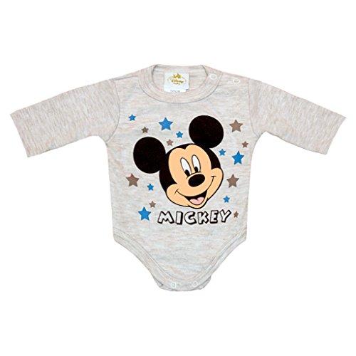 (Disney Baby-Body Jungen, lang-arm, Mickey Mouse Motiv mit Sterne, in Grau, Blau oder Hellblau in GRÖSSE 68, 74, 80, 86, 92 98 Baumwolle, tolles Geschenk für Neugeborene Farbe Grau, Größe 92)