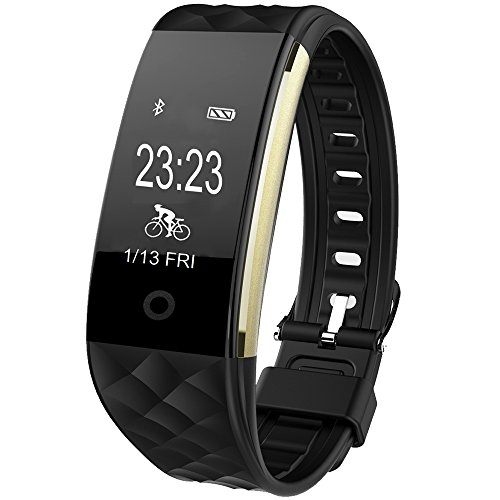 Montre Connectée, GanRiver Fitness Tracker d'Activité Cardiofréquencemètre Etanche IP67 Bracelet Connecté Bluetooth pour iPhone Android Smartphones, pour Femme Homme Sport (Cardiofréquencemètres, Podo...