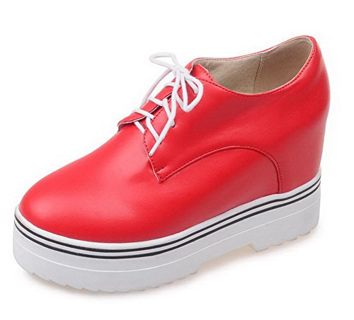 AllhqFashion Femme Lacet à Talon Haut Couleur Unie Rond Chaussures Légeres Rouge