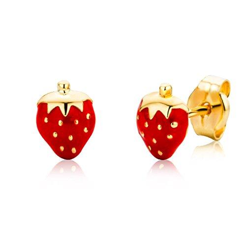 Miore Ohrringe Kinder Mädchen  Gelbgold 18 Karat / 750 Gold Ohrstecker mit Erdbeeren