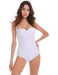 Ruched Plus Size Maillot De Bain Femme Monokini 1 Pièce Robe De Plage Blanc S