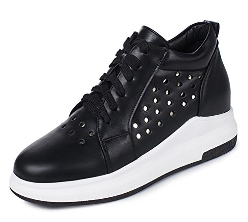 Frau Herbst mit schwerem Boden Aufzug Schuhe niedrige Schuhe Freizeitschuhe Spitze Schuhe weibliche Studenten zu helfen, Black