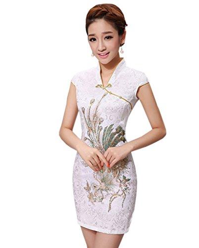 YueLian Frauen Sommer Retro Cheongsam Kurze Kleider mit V-Ausschnitte QiPao Kleid Gelb Phönix