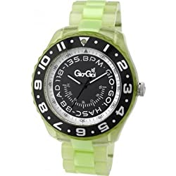 Gio Goi Men's Quartz Watch with Black Dial Analogue Display and Green Plastic or Pu Bracelet GG1023UV