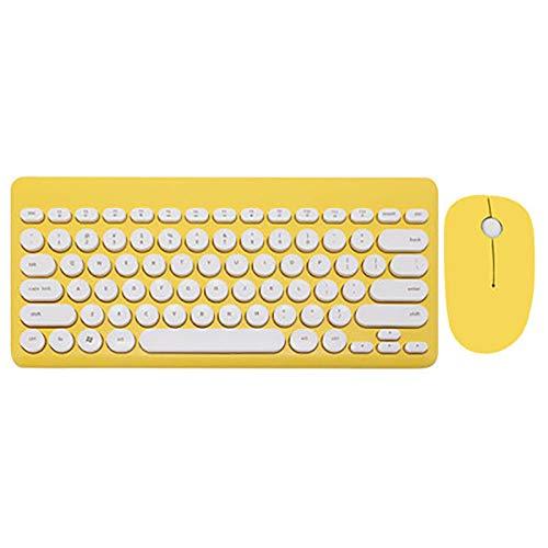 WHQ 2,4 G USB Wireless Gaming Tastatur Maus Combo Runde Taste Tastatur Silent Mouse für MacBook Lenovo Dell Asus HP Laptop-Computer,Gelb (Air Ipad Logitech Tastatur-pink 2)