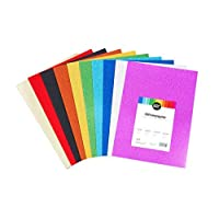 perfect ideaz 30 Sheets DIN A4 Glitter Paper Colourful, Glitter Craft Sheet, 10 Different Colours, 160 g / qm, Clay Drawing Card for Crafts, Colourful Leaves Set, DIY Needs