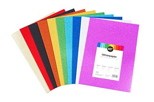 perfect ideaz 30 Blatt DIN-A4 Glitzer-Papier bunt, Glitter Bastel-Bogen, 10 verschiedene Farben, 160 g/m², Ton-Zeichen-Pappe zum Basteln, buntes Blätter-Set farbig, DIY-Bedarf (Rosa Card Papier Stock,)