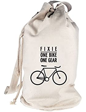 Fixie - One Bike, Singlespeed Fahrrad bedruckter Seesack Umhängetasche Schultertasche Beutel Bag