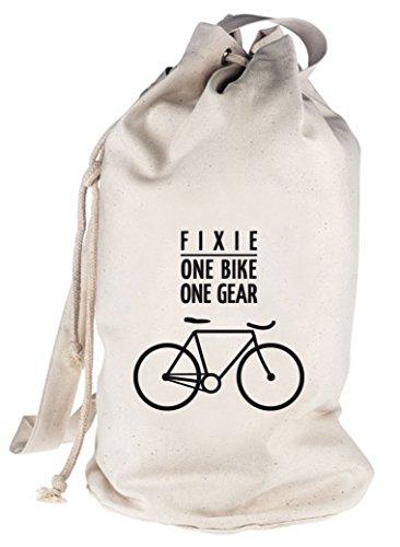 Fixie - One Bike, Singlespeed Fahrrad bedruckter Seesack Umhängetasche Schultertasche Beutel Bag, Größe: onesize,natur (Unter 150 Fixie-bikes)