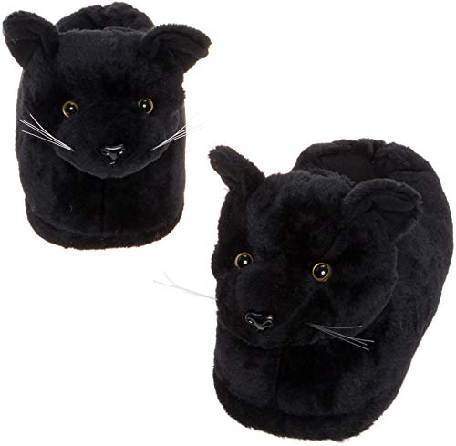 Silver Lilly Black Cat Slippers - Plush Novelty Animal Costume House Shoes w/Comfort Foam