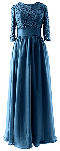 MACloth Vintage Half Sleeves Mother of Bride Dress Lace Formal Evening Gown Teal