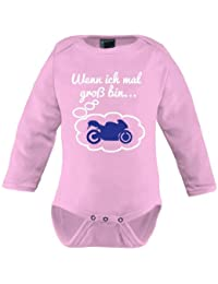 Mikalino Langarm Babybody Wenn ich mal groß bin.. Motorrad weiss-blau print