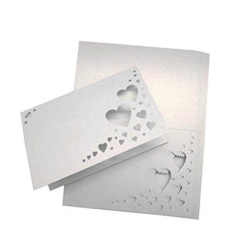 0 Herz hohlen Name Tischkarten Hochzeit Gast Platz Karten Dekoration gefallen (weiß) (Platz-karte)