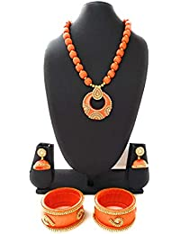 Fashion Grand Party Wear Fancy Silk Thread Jewellery Set, Silk Thread Necklace With Earrings And Bangles For Women...