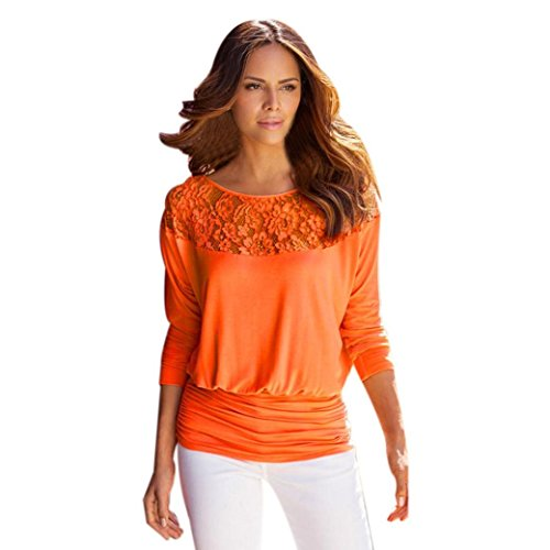Damen Bluse Xinan Bluse Hülsen Spitze Langarm Loose Shirt Tops (L, Orange) (Milch Mann Kostüme)