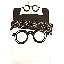 Juego de funda de edredón y funda de almohada con diseño de Harry Potter. De Primark Home, negro/blanco, Single 135 cm x 200 cm