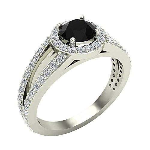 Black Diamond Ring Halo Engagement Ring 1.40 Carat Total Weight 14K White Gold Finish (Ringe Black Diamond)